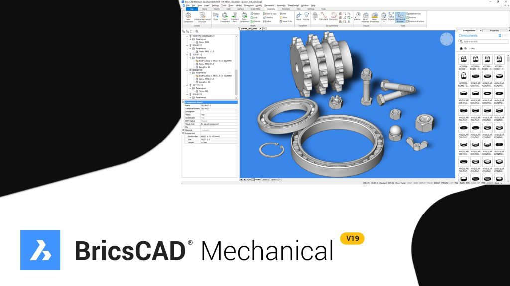 I componenti in BricsCAD Mechanical